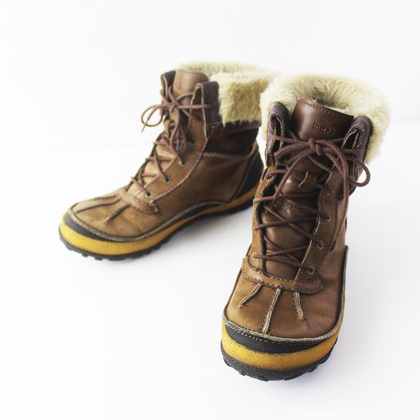 MERRELL メレル レースアップ ボア ブーツ 4.5/ブラウン シューズ フラット 靴 レザー【2400011564214】