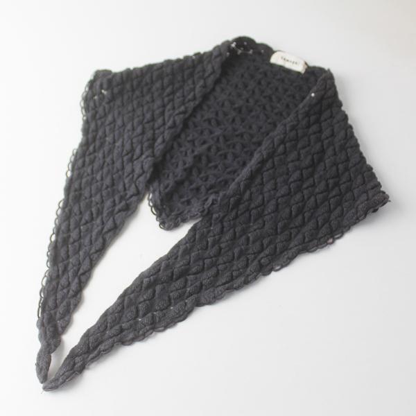 tumugu ツムグ 三角 ニット ストール/チャコール ショール レース編み 小物【2400011564351】