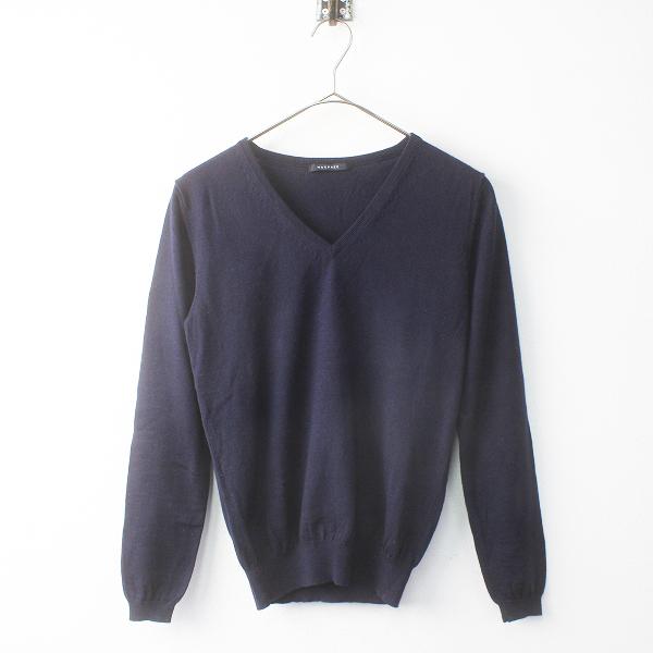 MACPHEE マカフィー Vネック ニット プルオーバー S/トップス ネイビー 長袖 セーター【2400011564603】