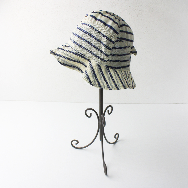 KAPITAL キャピタル ボーダー ハット/アイボリー × ネイビー 帽子 メッシュ 小物【2400011566072】