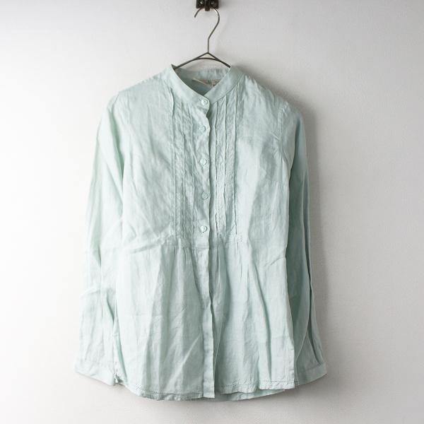 L.L.BEAN エルエルビーン リネン ピンタック バンドカラー シャツ S/グリーン トップス【2400011566232】
