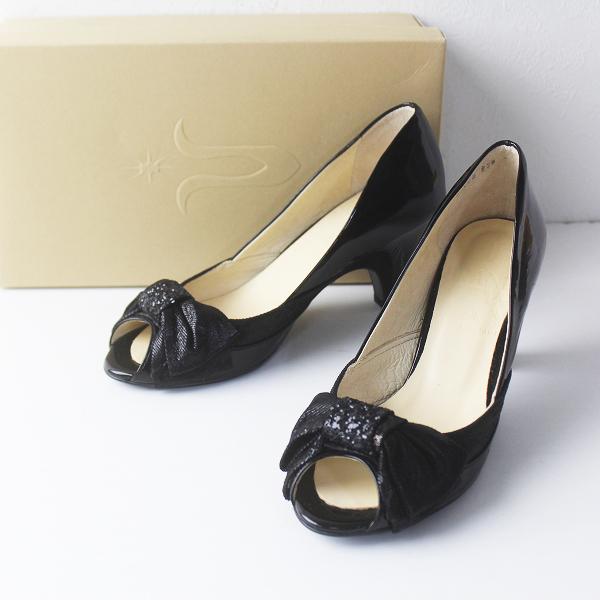 未使用品 BRAND NEW DAY ブランニューデイ ジュンコキタムラ リボン デザイン オープントゥ パンプス 23.5/クロ 靴 くつ【2400011566416】