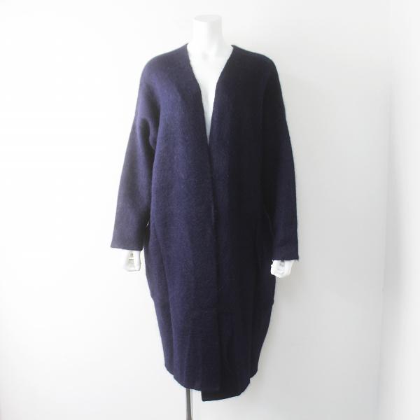 美品 mizuiro-ind ミズイロインド アンゴラ ウール混 羽織り ロングカーディガン/ネイビー アウター 上着【2400011567482】