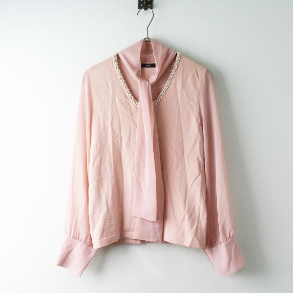 大きいサイズ INED イネド 袖切り替え パール装飾 ボウタイ ニット 15/ピンク レイヤード ロングスリーブ トップス【2400011567734】