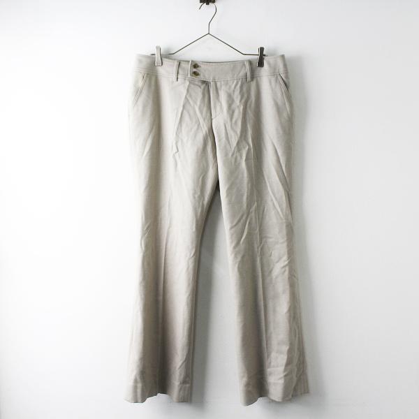 大きいサイズ INDIVI インディヴィ ウール カシミヤ混 パンツ 48/ライトグレー センタープレス フルレングス【2400011567789】