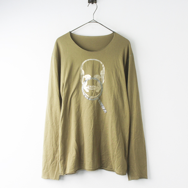 国内正規品 lucien pellat-fine ルシアンペラフィネ 虫めがね スカル ロング Tシャツ L///カーキベージュ カットソー 【2400011568311】