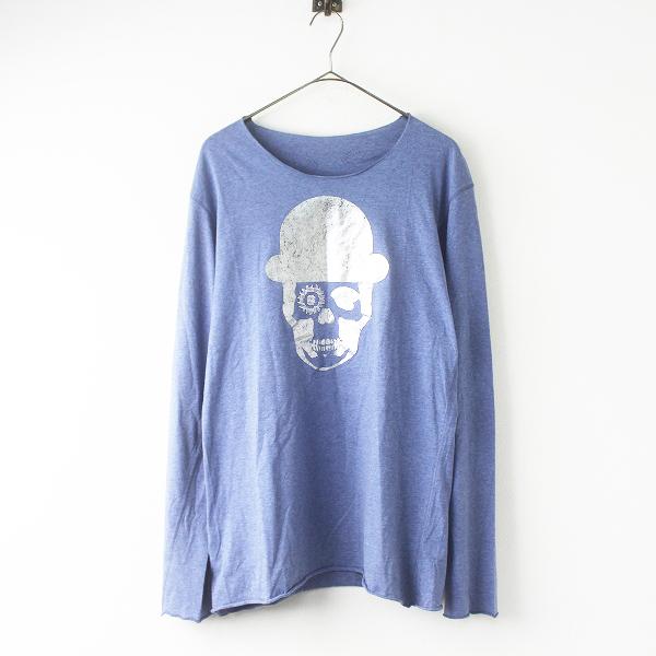 国内正規品 lucien pellat-fine スワロフスキー ハット スカル フェザー クルーネック ロング Tシャツ L///ブルー 長袖【2400011568328】