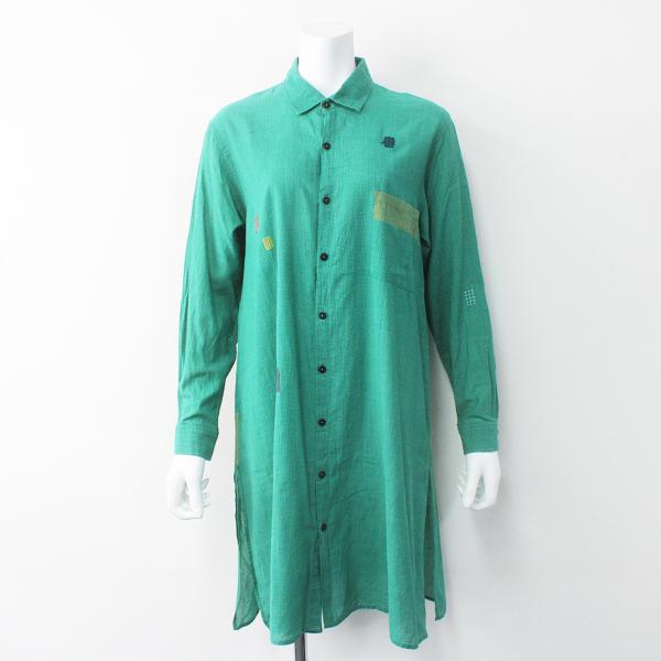 Jurgen Lehl ヨーガンレール グラフチェック コットン ロング シャツ ワンピース M/グリーン 半袖【2400011571953】