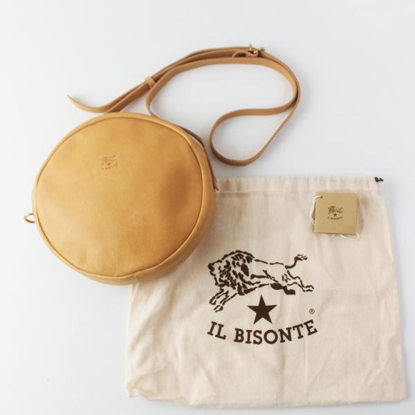 美品 2019 IL BISONTE イルビゾンテ A2664M レザー ラウンド ショルダーバッグ/キャメル ヌメ革 サークル型 BAG【2400011573605】
