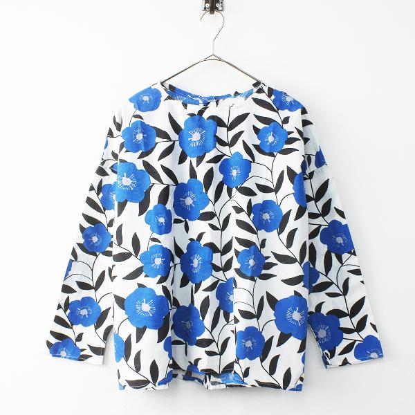 caliner カリネ フラワー プリント 2way ワイド シャツ ブラウス M/ブルー × ホワイト トップス【2400011574299】