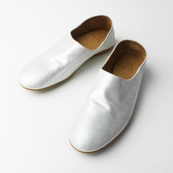 美品 que キューシューズ レザースリッポン シューズ L/シルバー ラメ 靴 くつ【2400011574732】