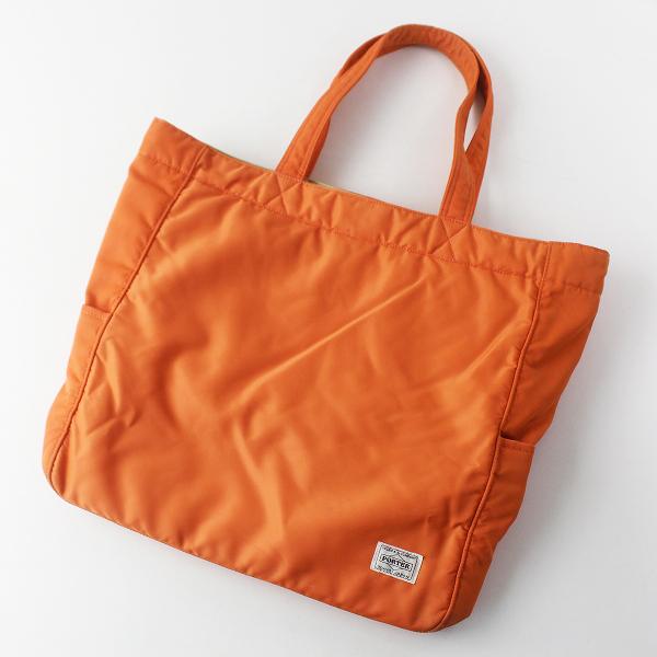 PORTER ポーター ナイロン トートバッグ スクエア型/鞄 BAG かばん オレンジ【2400011575098】