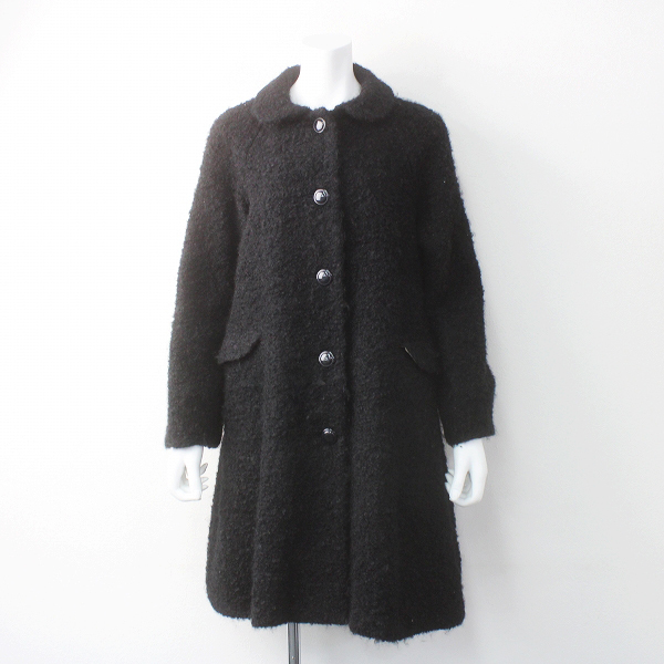 Lisette リゼッタ ウール モヘア ブークレ 丸襟 コート/ブラック アウター 上着 羽織り【2400011575999】