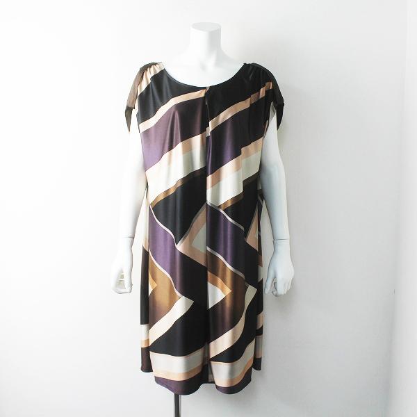 美品 大きいサイズ INDIVI インディヴィ 配色 ポリエステル ワンピース 44/ブラウン系 ドレス【2400011576293】