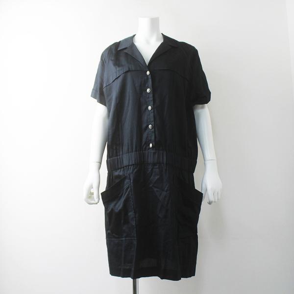 大きいサイズ 22 OCTOBRE ヴァンドゥーオクトーブル シャツ ワンピース 46/紺 コン ドレス 無地 ペチ付き【2400011576330】