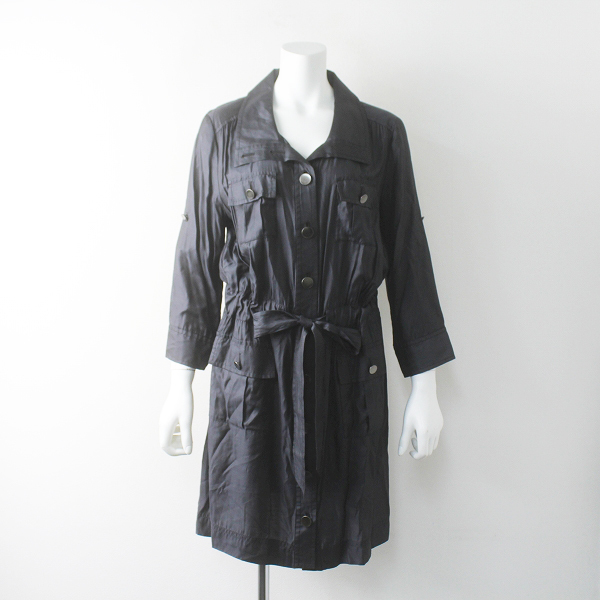 大きいサイズ 22 OCTOBRE ヴァンドゥーオクトーブル ドロスト ミリタリー シャツ ワンピース 44/チャコールグレー ドレス【2400011576361】