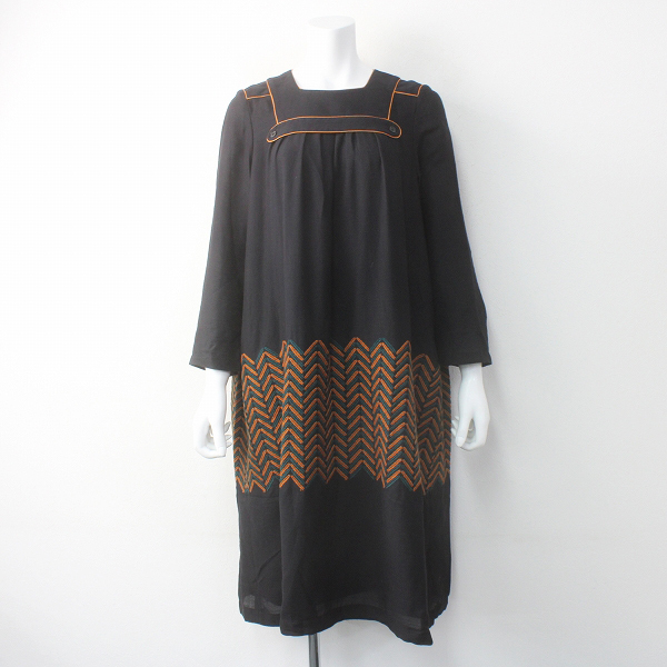 美品 mina perhonen ミナペルホネン mountain roof 刺繍 ワンピース 38/ブラック 黒 ドレス【2400011578198】