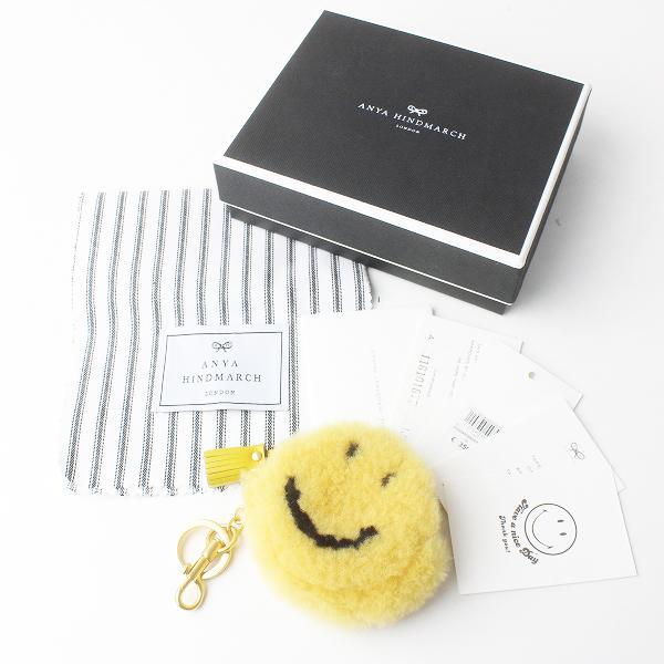 極美品 ANYA HINDMARCH アニヤハインドマーチ Coin Purse Smiley in キーリング 付 コイン ケース /イエロー スマイリー【2400011578365】