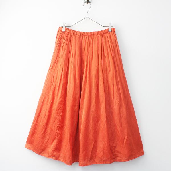 2017SS 春夏 journal standard luxe 17060440201010 TCサテン ビンテージ イージー ギャザー スカート/オレンジ系【2400011580429】