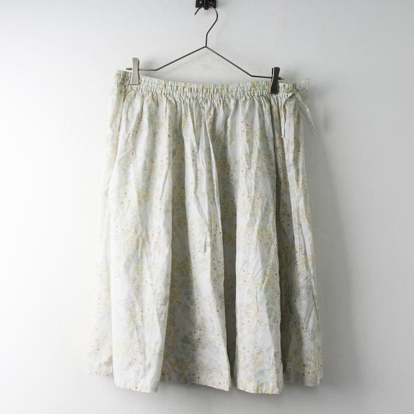 大きいサイズ franche lippee フランシュリッペ フラワープリント コットン フレアスカート FL5/ホワイト系 ボトムス【2400011580467
