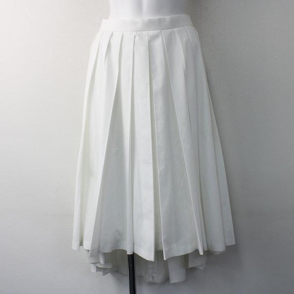 2017 春 Lois CRAYON ロイスクレヨン コットン フレア プリーツ スカート M/29年製 ホワイト ボトムス【2400011581983】