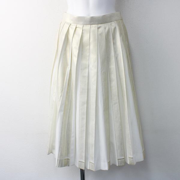 Lois CRAYON ロイスクレヨン 箔プリント プリーツ スカート M/ホワイト ゴールド ボトムス【2400011582096】