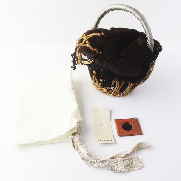 ebagos エバゴス ファー かぶせ 紅籐 かごバッグ/ナチュラル 鞄 かばん BAG【2400011582805】