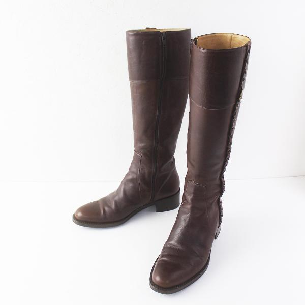 IL BISONTE イルビゾンテ 編み上げ 装飾 レザー ロング ブーツ 37/ブラウン ロゴ 刻印 ボタン 付き シューズ 靴【2400011583116】