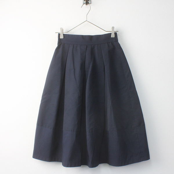 STRAWBERRY-FIELDS ストロベリーフィールズ タック スカート/ネイビー ボトムス 無地 シンプル【2400011584205】