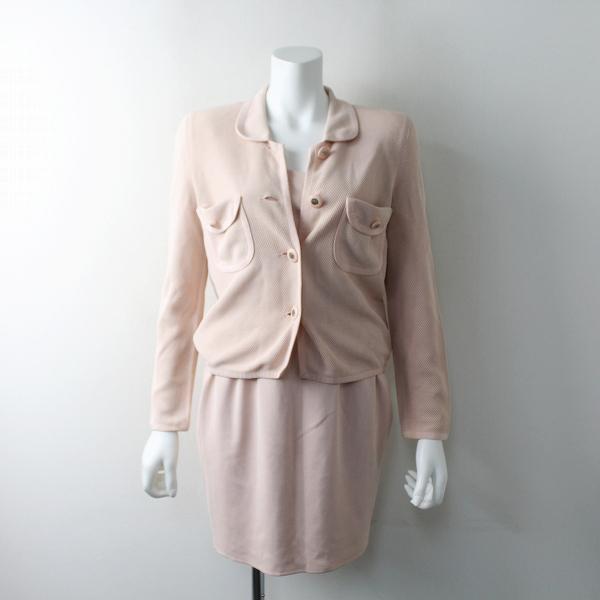 FOXEY フォクシー 3ピース セットアップ ニット スーツ 40/上下 スカートスーツ ピンク【2400011586445】