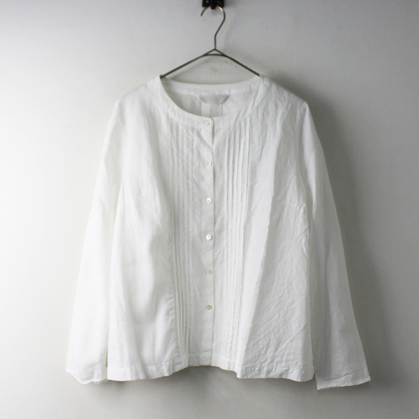 Lisette リゼッタ リネン ピンタック ノーカラー シャツ 36/ホワイト 白 トップス 長袖【2400011588081】