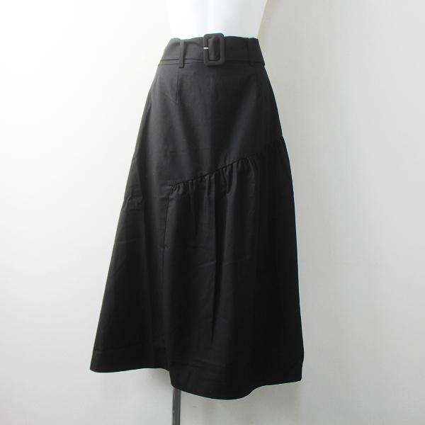 merlot plus メルロープリュス ウエスト ベルト フレア スカート/ブラック クロ ボトムス バックウエストゴム【2400011588425】