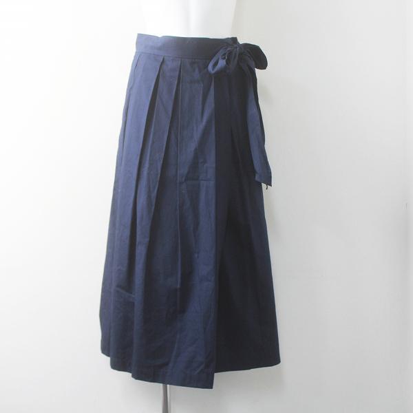 2019 春夏 Lois CRAYON ロイスクレヨン ウエスト リボン タック ラップ スカート M/31年製 ネイビー 巻き【2400011588579】