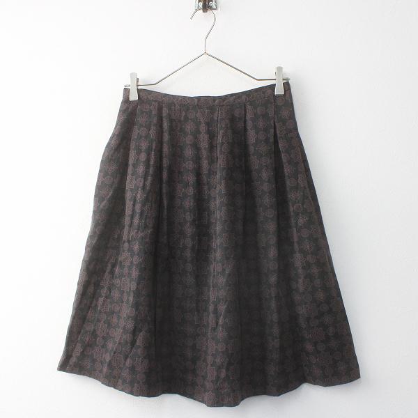 【期間限定30%OFF】GRANDMA MAMA DAUGHTER グランマママドーター 小紋柄 タック スカート 0/チャコール ボトムス ボタンフライ【2400011589309】