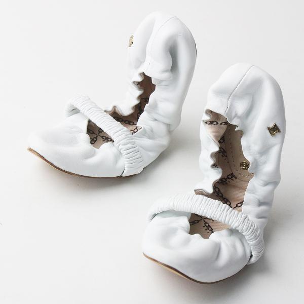 CELINE セリーヌ ギャザー フラット パンプス 35/ホワイト シューズ 靴【2400011590077】