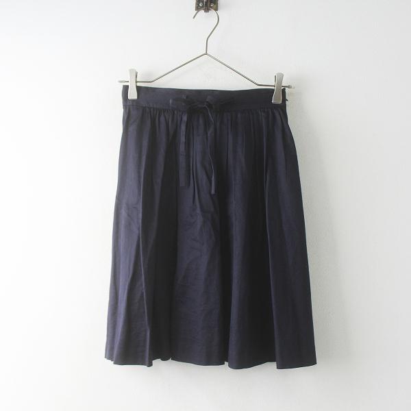 SLOBE IENA スローブイエナ スイスコットン サテンスカート 36/ネイビー 無地 リボン フレア【2400011590275】