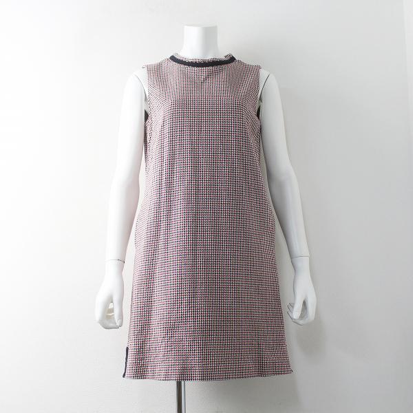 Lois CRAYON ロイスクレヨン コットン 格子織り ノースリーブ ワンピース M/レッド系【2400011591975】