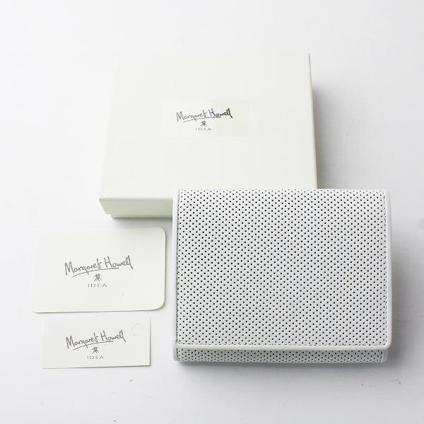 未使用 MARGARET HOWELL idea マーガレットハウエル アイデア パンチングレザー 折り財布/ホワイト メッシュ ウォレット【2400011600776】