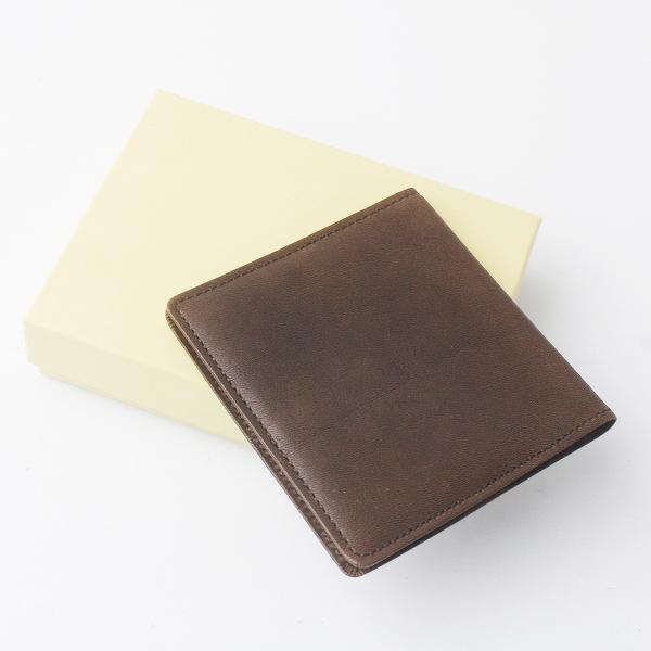 MARGARET HOWELL idea マーガレットハウエル アイデア レザー折りカードケース/ブラウン名刺入れ 雑貨 収納【2400011600837】