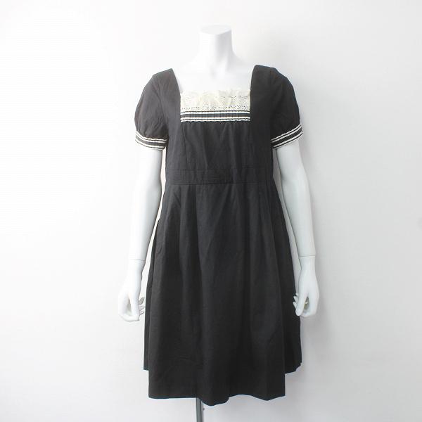 Jane Marple ジェーンマープル レース装飾 スクエア Aライン ワンピース M/ブラック ドレス ベーシック【2400011601407】