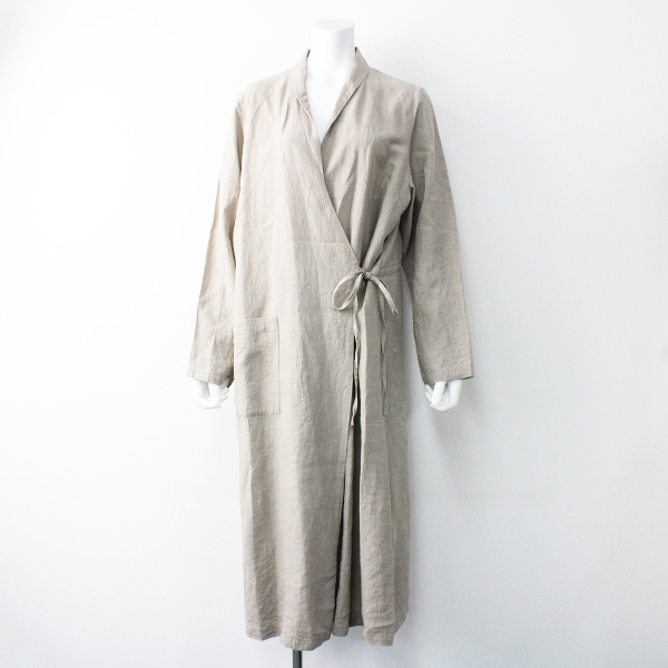 美品 2019SS 定価3.1万 nest Robe ネストローブ リネン スモーキング コート F/グレージュ 系 アウター 羽織り 無地【2400011601711】