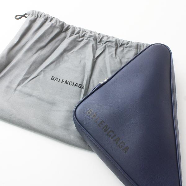 美品 BALENCIAGA バレンシアガ 2018 TRYANGLE トライアングル クラッチ バッグ/コン 紺 ネイビー 鞄 BAG【2400011602701】