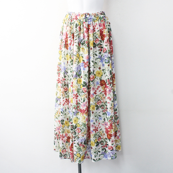 未使用品 2019 春夏 Lois CRAYON ロイスクレヨン トロピカル フラワー プリント ロング スカート M/31年製 ホワイト【2400011603104】