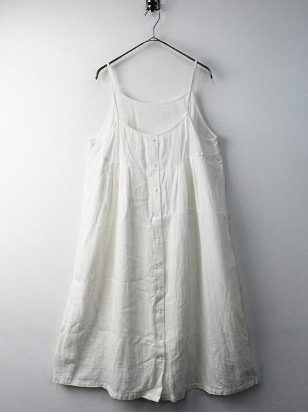 nest Robe ネストローブ リネン ノースリーブ タック ワンピース/オフホワイト ロング ドレス【2400011604439】