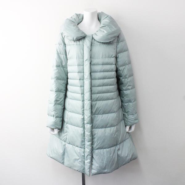 大きいサイズ TO BE CHIC トゥービーシック ビジュー 装飾 ショールカラー ダウン コート 48/ライトブルー アウター【2400011605139】