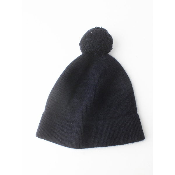 n100 エヌワンハンドレッド カシミヤ100% ニット キャップ ボンボン付き 34/ネイビー 帽子【2400011605412】