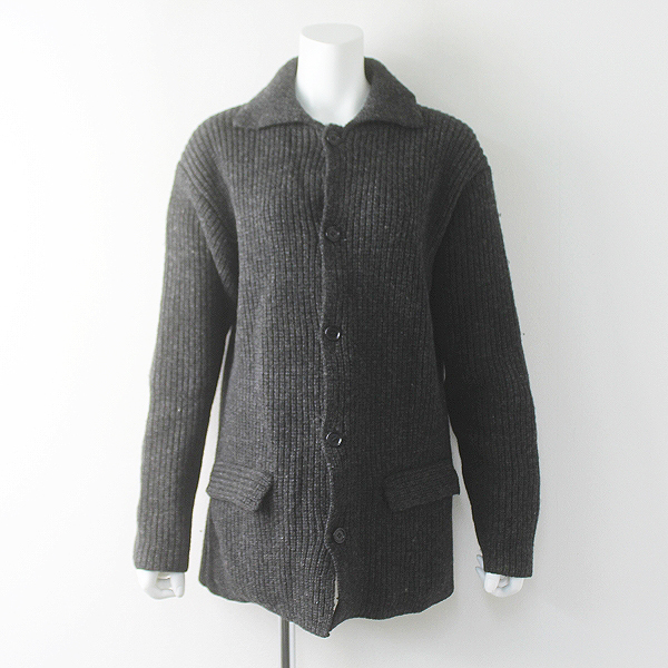 BEAMS ビームス 畦編み ウール ニット コート M/グレー アウター 上着 羽織り【2400011605900】