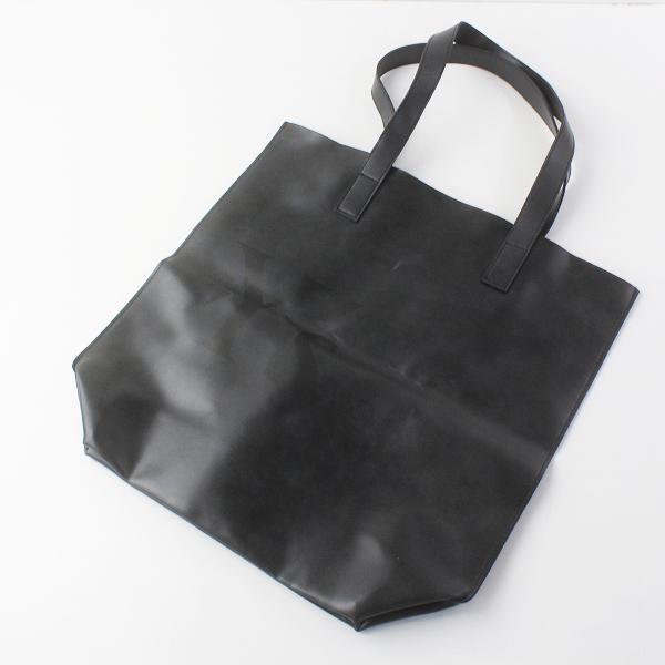 美品 2019SS 春夏 Y's Yohji Yamamoto ワイズ ヨウジヤマモト 大容量 ロゴ フェイクレザー トートバッグ/ブラック 鞄【2400011608178】