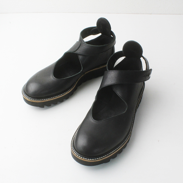 Y's YOHJI YAMAMOTO ワイズ ヨウジヤマモト アンクルストラップ シャークソール レザー シューズ 3/ブラック 靴【2400011608208】