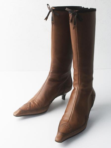 PRADA プラダ ウイングチップ レザー ロングブーツ 37.5/ブラウン 茶 くつ 靴 シューズ【2400011610843】